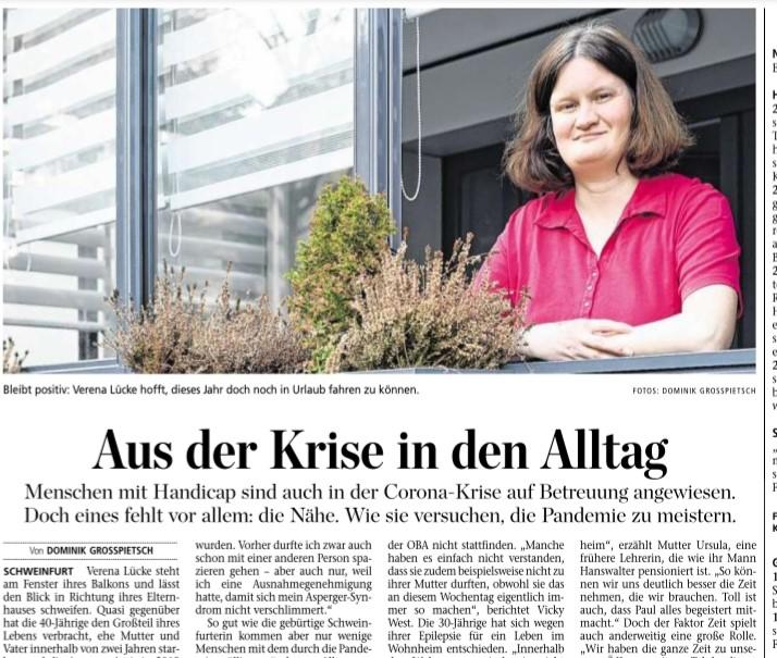 Menschen mit Behinderung in der Corona-Krise, Bericht Schweinfurter Tagblatt