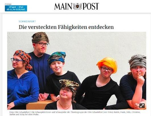 """Bericht in der Mainpost über """"Hut ab"""""""